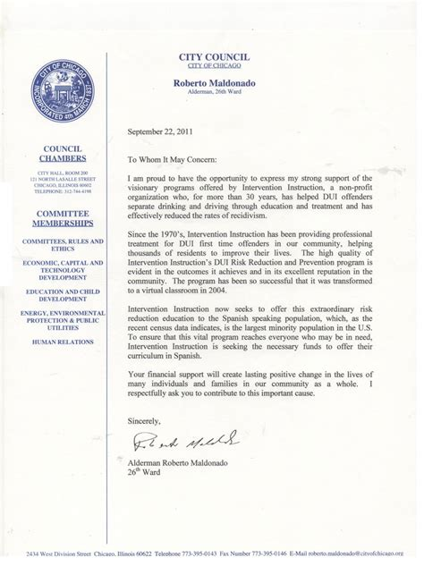 Support Letter For Dui classes bajola in influencae benefactores intervention