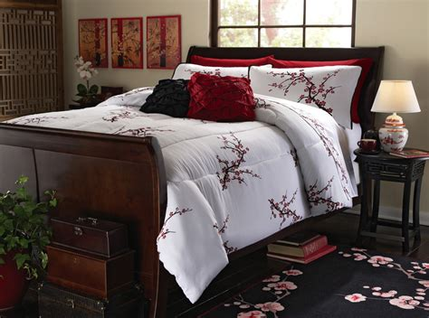 asian cherry blossom bedding set red white comforter