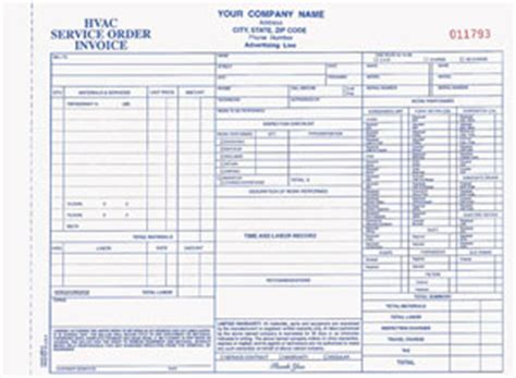 hvac receipt template hvac form
