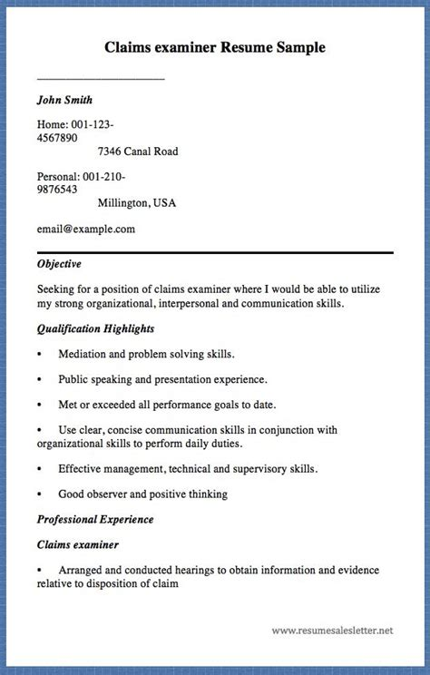 Claims Examiner Cover Letter by 1000 Images About Free Resume Sample On Student Resume Exles Of Cover Letters