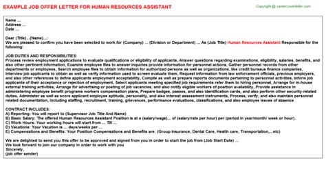 appointment letter format for hr assistant temporary human resource generalist offer letters