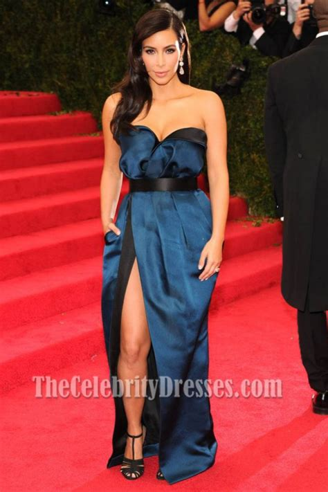 Kim Kardashian Blue And Black Prom Dress MET Gala 2014 Red