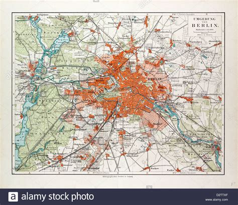 map of germany and surrounding areas map of berlin and the surrounding area germany 1899 stock