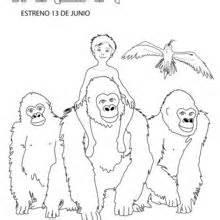 tarzan und jane mit gorillas zum ausmalen hellokids