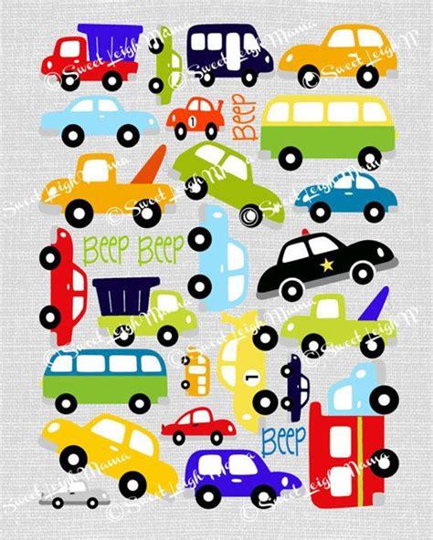 Boy Bedroom big city beep beep car print primary colors on gray