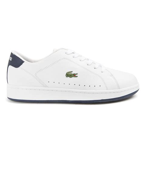 lacoste leather sneakers lacoste carnaby white leather sneakers in white for lyst
