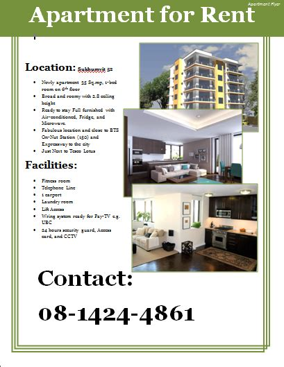 apartment rental flyer template image collections template design