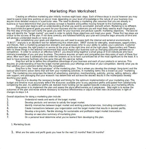 22 Microsoft Word Marketing Plan Templates Free Premium Templates Marketing Plan Worksheet Template