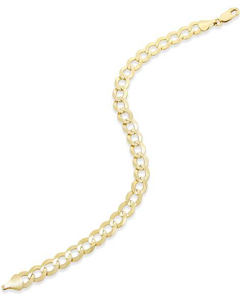 macy s ultralight curb link bracelet anklet in 10k gold in