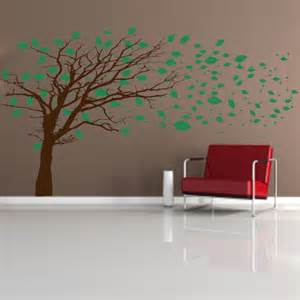Wall Decals And Murals Tree With Blowing Leaves Wall Decal Mural Wall Decal World