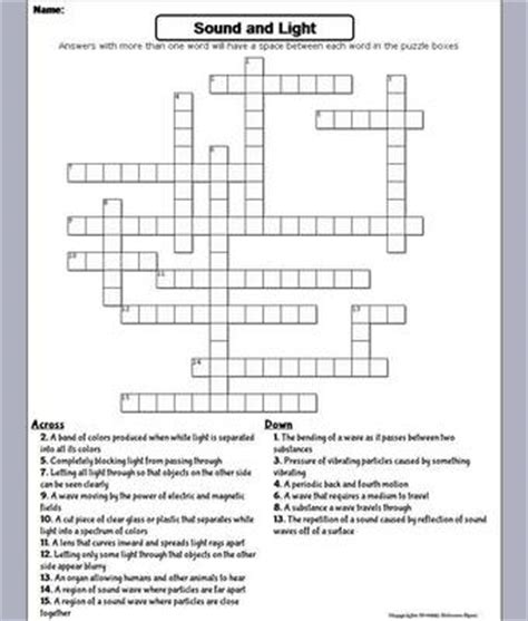 Light Crossword Puzzle Worksheet sound and light crossword puzzle