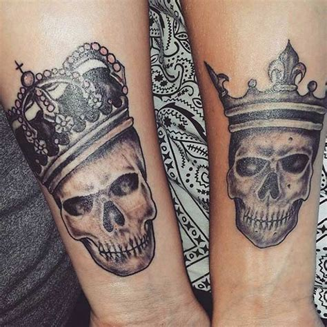 skull couple tattoos 51 king and tattoos for couples page 2 of 5 stayglam