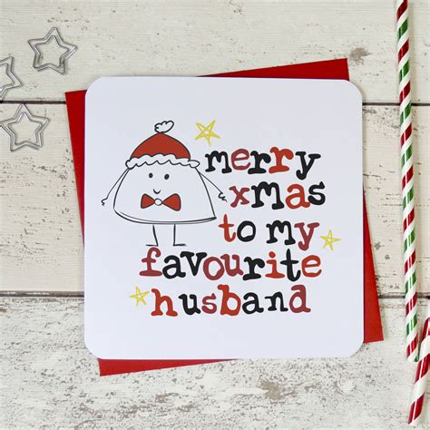 merry christmas   favourite husband xmas card  parsy card  notonthehighstreetcom