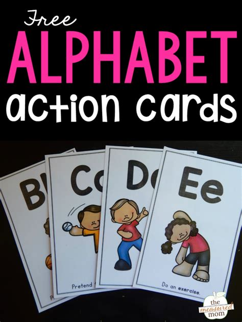printable abc exercise cards teach letter sounds with alphabet action cards the