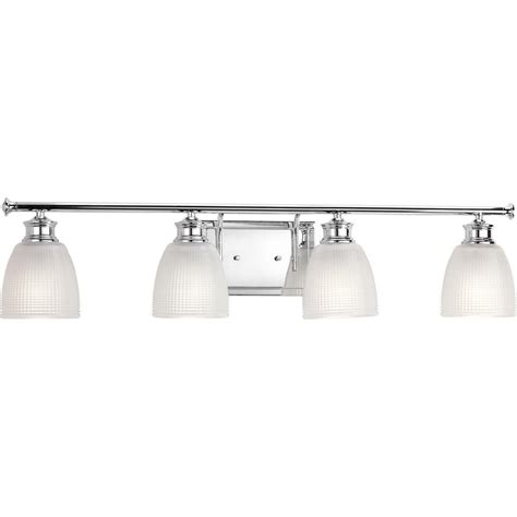 progress lighting lucky collection 33 56 in 4 light polished chrome bathroom vanity light with