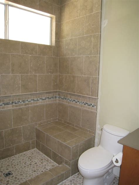 Bathroom Shower Stall Tile Designs | shower stall without door with border tile and chair for
