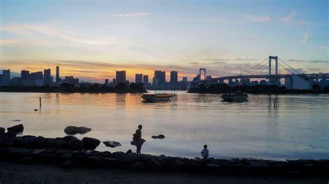wallpaper japan boat dark sunset sea city