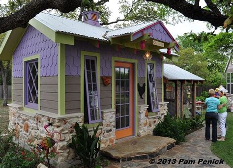 backyard hen house colorful hen house on austin s funky chicken coop tour