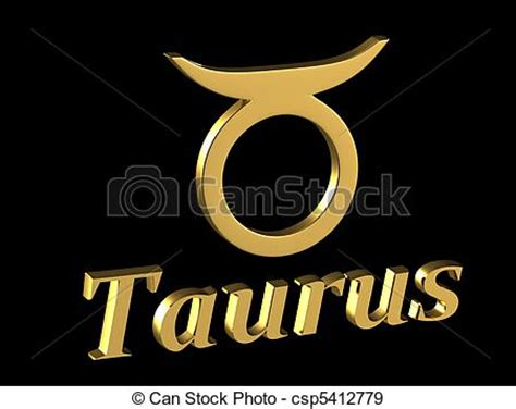 stock illustration of sign taurus gold zodiac sign
