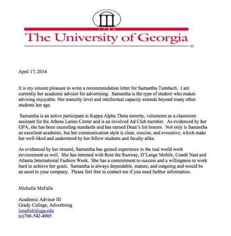 Recommendation Letter Format For Ms Letter Of Recommendation From Ms Mcfalls Director Of Grady S Department Of Advertising