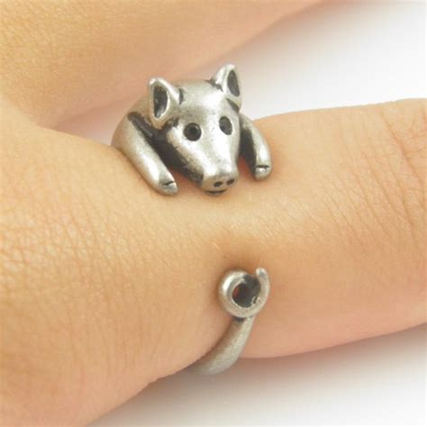 lucky pig animal wrap ring silver kejajewelry