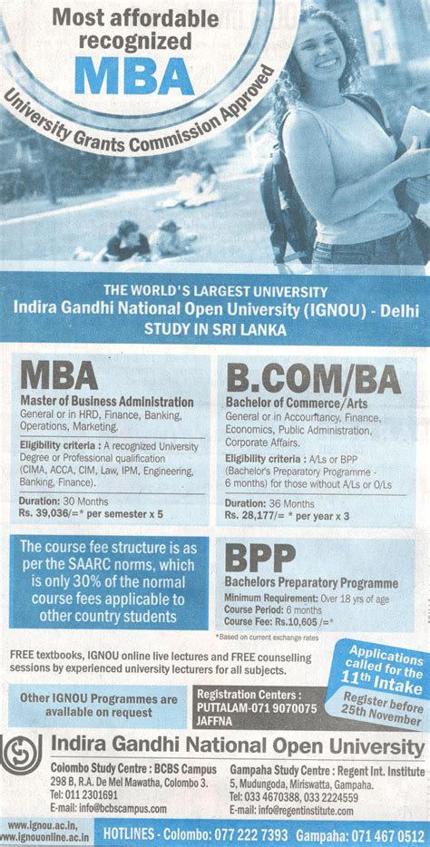 Indira Gandhi National Open Mba Fees by Indira Gandhi National Open Degrees In Srilanka