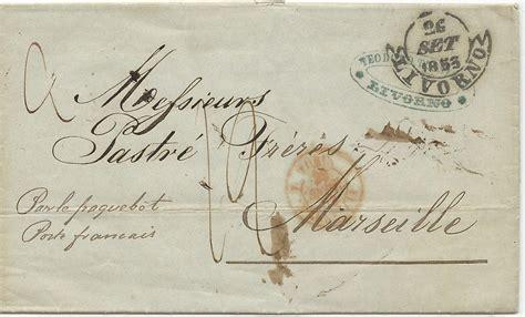 Porto Brief Schweiz Italien italien toscana 1853 porto schiffs brief v livorno n
