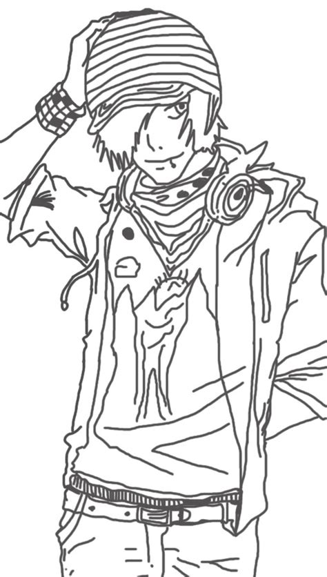 Sketch Anime Glasses Guy Coloring Pages Coloring Pages Of Anime Boys Free