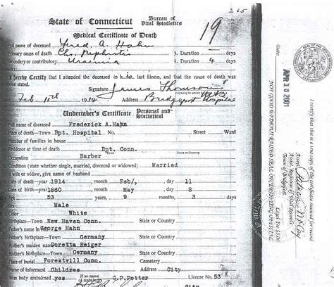 Bridgeport Ct Birth Records Frederick A Hahn Certificate Of