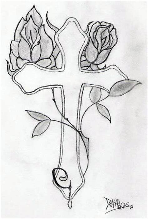 Cross With Roses Drawings