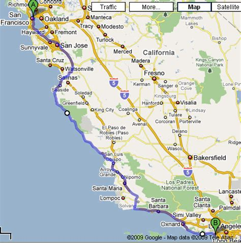 california map from san francisco to la san francisco to los angeles f f info 2017