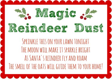 printable magic reindeer poem the pink lantern magic reindeer dust recipe with