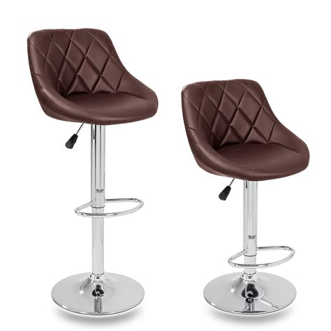 2 x bar stools faux leather breakfast kitchen swivel stool tresko 174 2 x bar stools faux leather swivel kitchen lounge