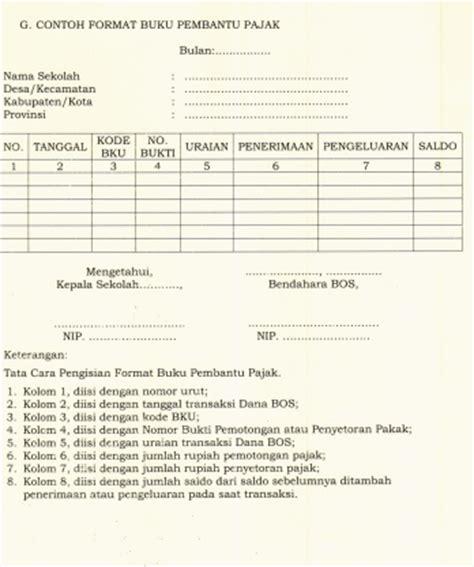 format buku kas pembantu contoh format pengelolaan bos sesuai juknis bos se