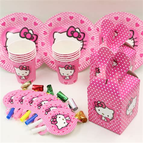 Souvenir Handuk Hellokity 2 40pcs hello favors and gift birthday decoration plate cups box for