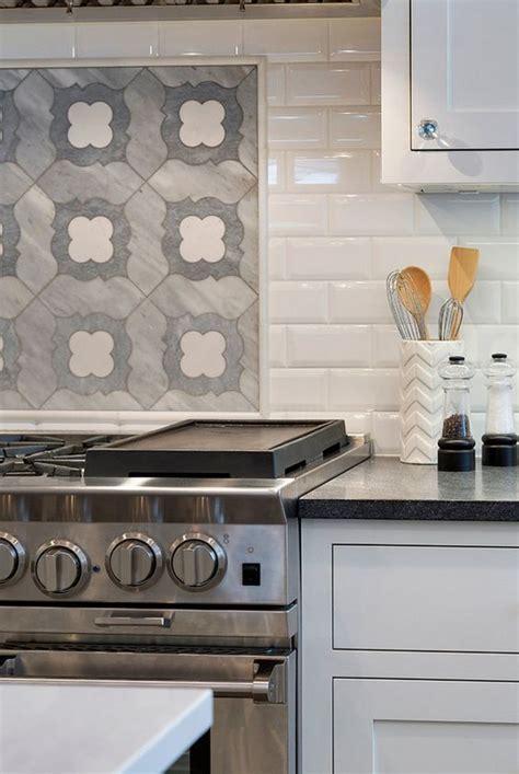 tile borders for kitchen backsplash like how the border frame is between patterned tile and subway tile backsplash