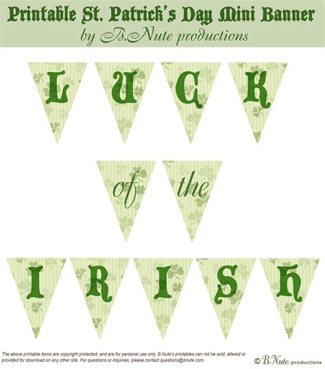 printable mini banner bnute productions free printable st patrick s day mini