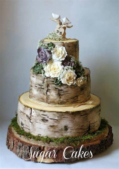 Hochzeitstorte Holzoptik by Birch Tree Wedding Cake With Handmade Succulents Roses