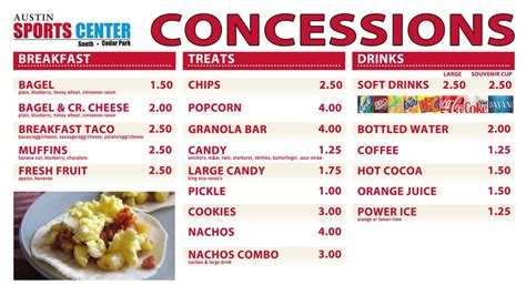 Concession Stand Food Osm Solutions Provides Digital Menu Boards For Austin Sports Center Concession Stand Menu Template Free