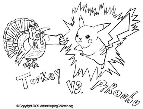 free printable thanksgiving coloring pages activities thanksgiving pikachu fighting turkey crafts activity
