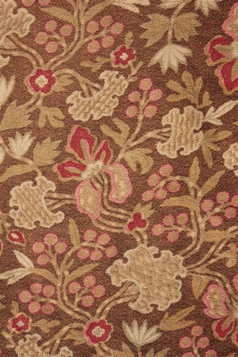 arts upholstery antique french cretonne 1880 brown arts and crafts fabric