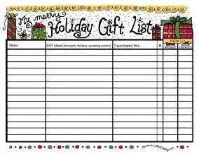 Christmas Gift List Organizer Template » Home Design 2017