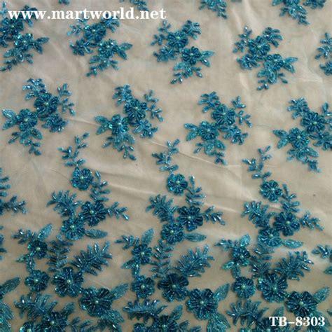 Renda Bordir Per Meter biru bordir manik manik pengantin kain renda tb 8303