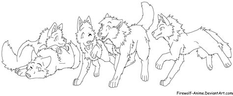 global art anime wolf lineart