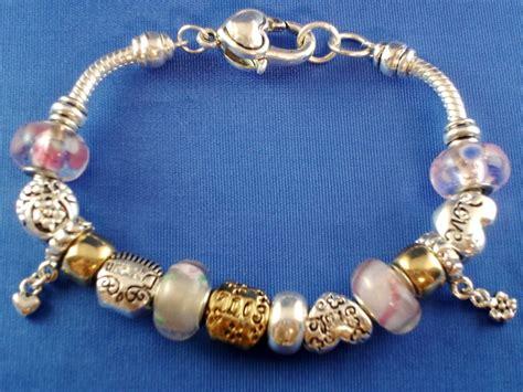 pandora inspired two tone charm bracelet smile
