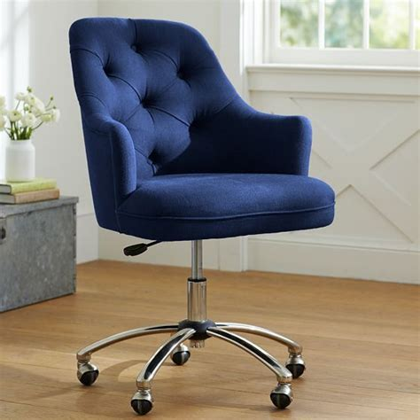 twill tufted desk chair dark dark blue and colors