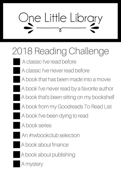 One Little Library - 2018 Reading Challenge - One Little