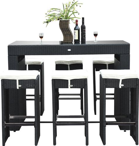 Outsunny 7 Piece Rattan Wicker Bar Stool Dining Table Set Bar Stool Dining Table