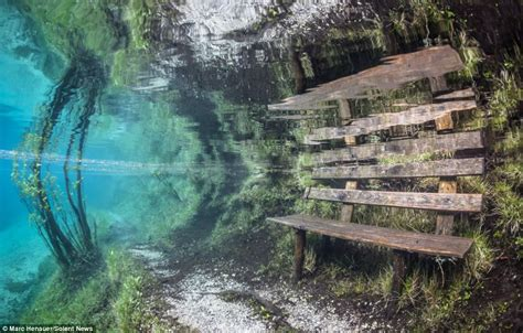 underwater bench green lake tragoess austria the park that disappears