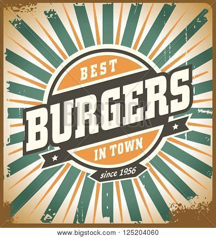 Retro Style Burger Sign Vintage Poster Template Fast Food Restaurant Background Vintage Food Signs Template